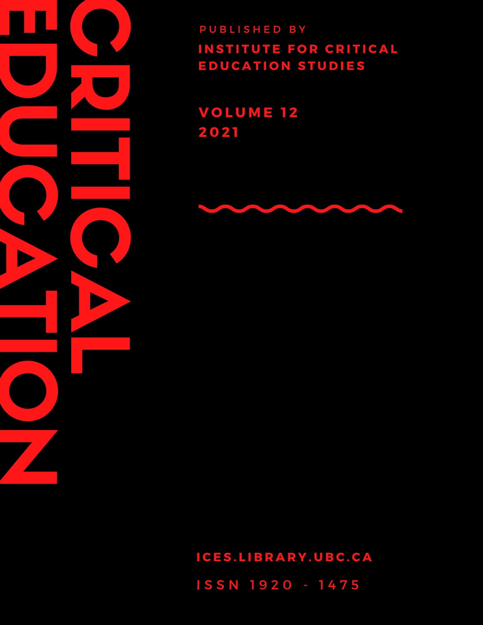 Critical Education Volume 12 Cover Image